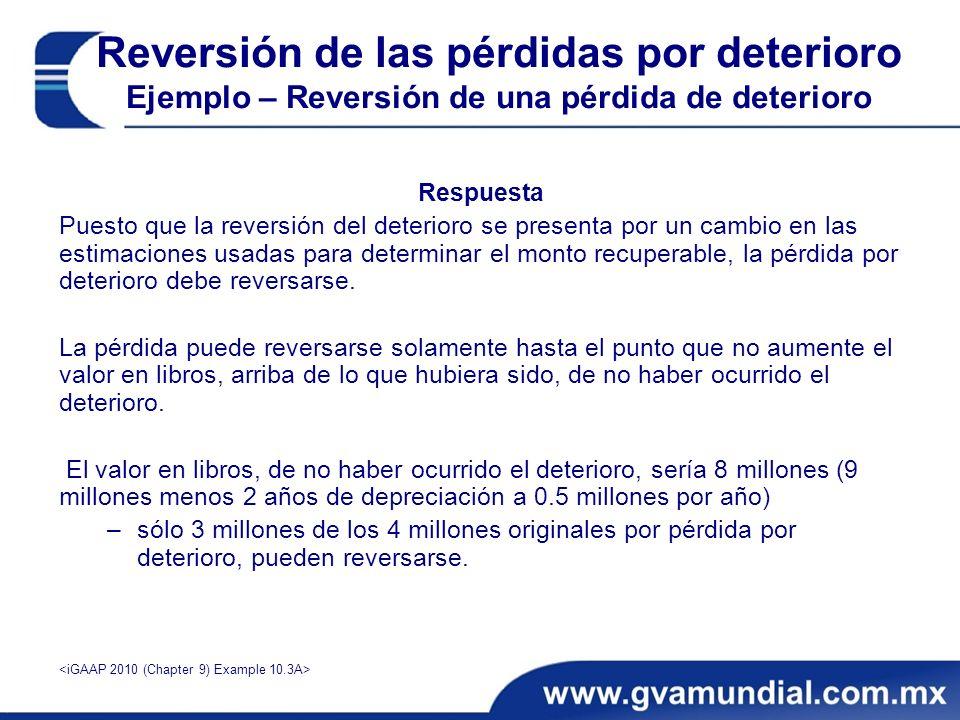 Respuesta Puesto que la reversión del deterioro se presenta por un cambio en las estimaciones usadas para determinar el monto recuperable, la pérdida por deterioro debe reversarse.
