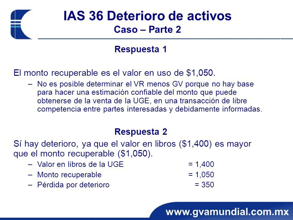 IAS 36 Deterioro de activos Caso – Parte 2 Respuesta 1 El monto recuperable es el valor en uso de $1,050.