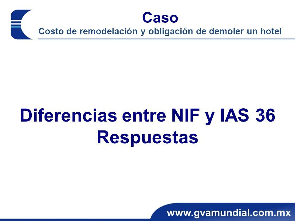 Diferencias entre NIF y IAS 36 Respuestas Caso Costo de remodelación y obligación de demoler un hotel
