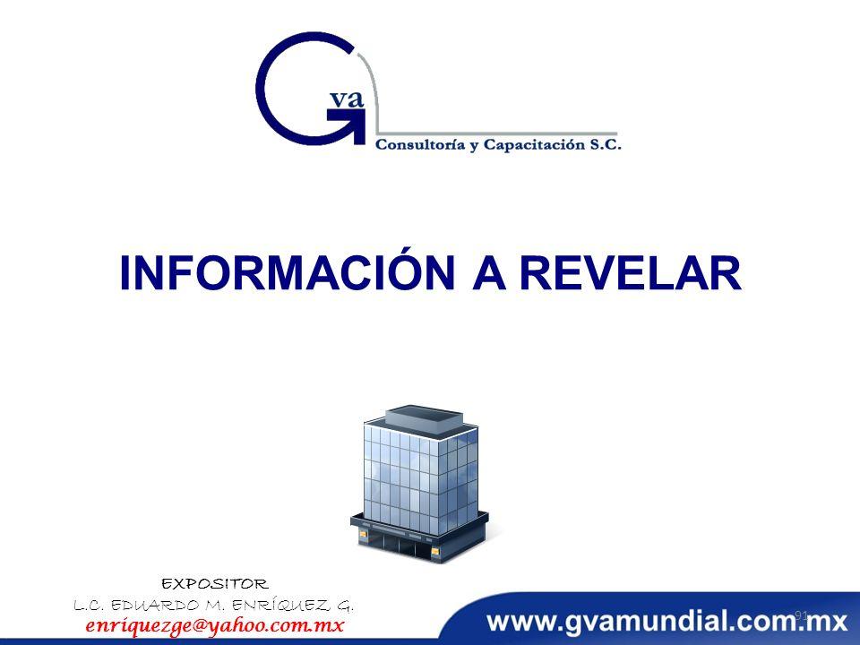 INFORMACIÓN A REVELAR EXPOSITOR L.C. EDUARDO M. ENRÍQUEZ G. enriquezge@yahoo.com.mx 91