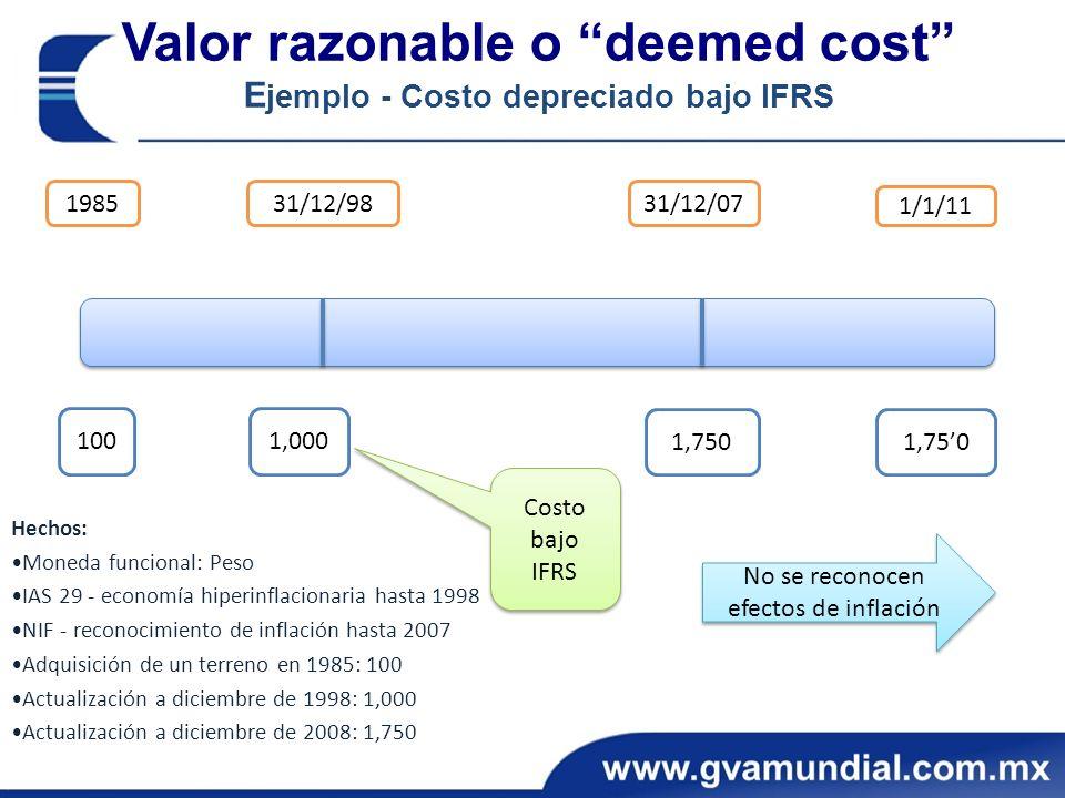Hechos: Moneda funcional: Peso IAS 29 - economía hiperinflacionaria hasta 1998 NIF - reconocimiento de inflación hasta 2007 Adquisición de un terreno en 1985: 100 Actualización a diciembre de 1998: 1,000 Actualización a diciembre de 2008: 1,750 Valor razonable o deemed cost E jemplo - Costo depreciado bajo IFRS 198531/12/9831/12/07 1/1/11 1001,000 1,750 No se reconocen efectos de inflación Costo bajo IFRS
