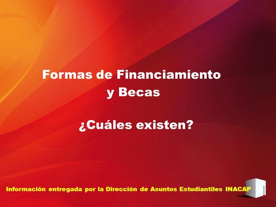 Información entregada por la Dirección de Asuntos Estudiantiles INACAP Formas de Financiamiento y Becas ¿Cuáles existen?