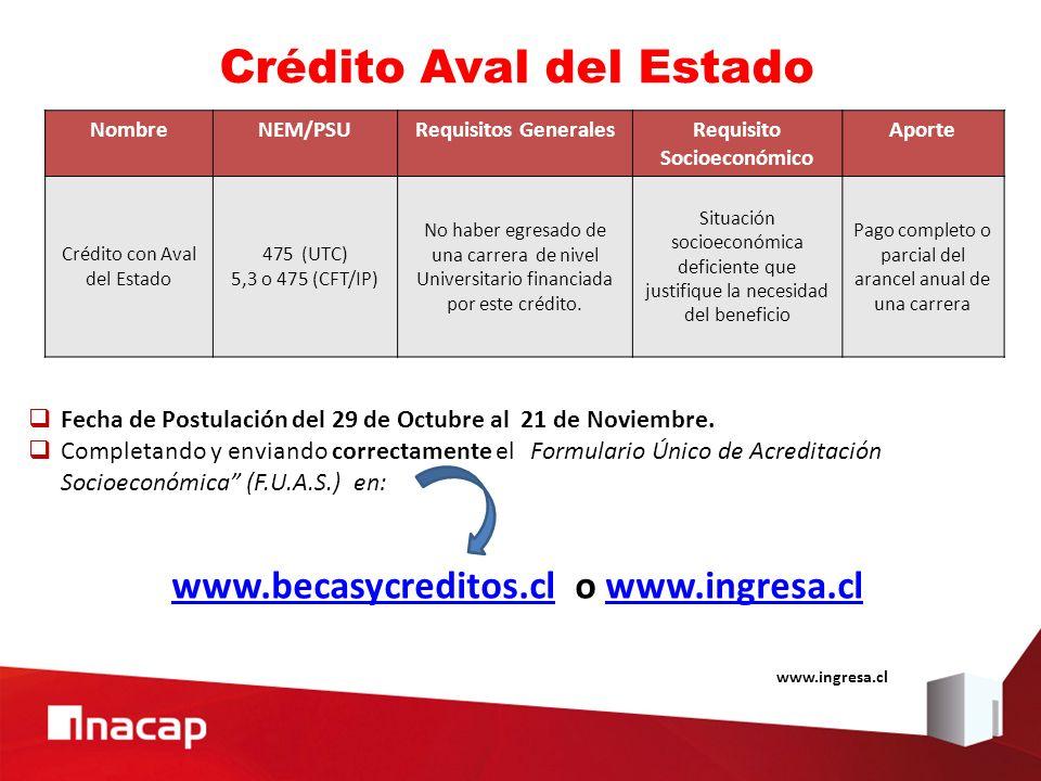 Crédito Aval del Estado NombreNEM/PSURequisitos GeneralesRequisito Socioeconómico Aporte Crédito con Aval del Estado 475(UTC) 5,3 o 475 (CFT/IP) No ha