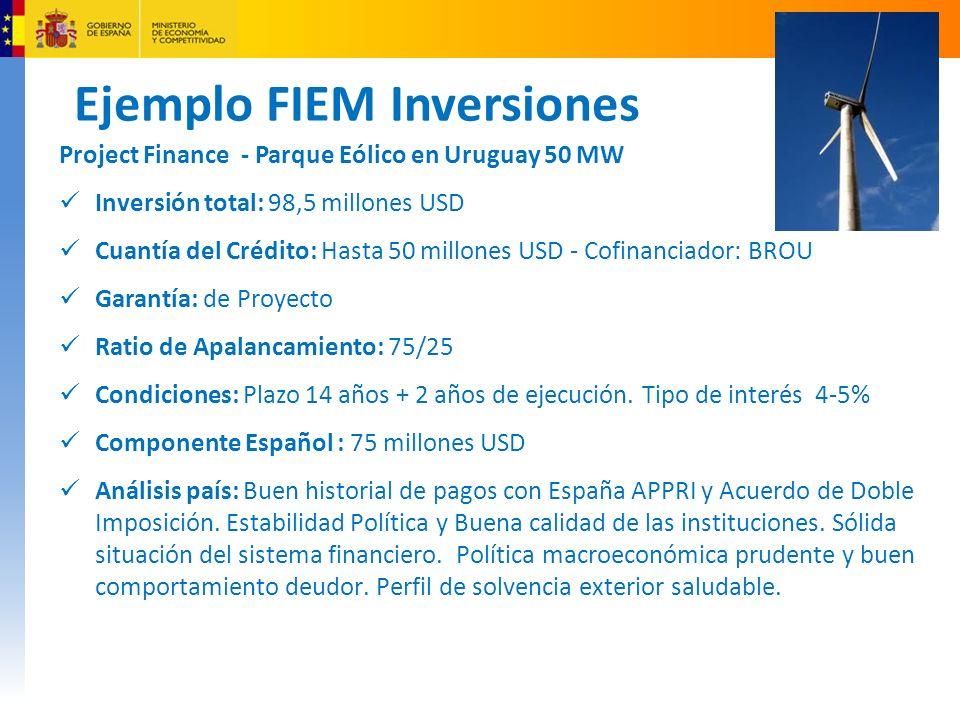 Ejemplo FIEM Inversiones Project Finance - Parque Eólico en Uruguay 50 MW Inversión total: 98,5 millones USD Cuantía del Crédito: Hasta 50 millones USD - Cofinanciador: BROU Garantía: de Proyecto Ratio de Apalancamiento: 75/25 Condiciones: Plazo 14 años + 2 años de ejecución.