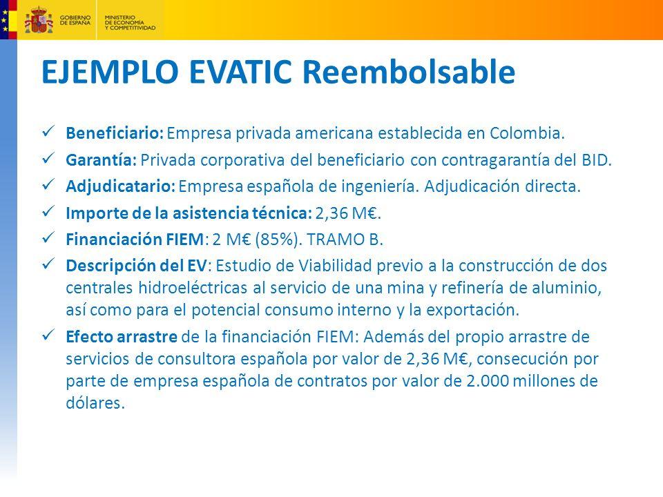 EJEMPLO EVATIC Reembolsable Beneficiario: Empresa privada americana establecida en Colombia.