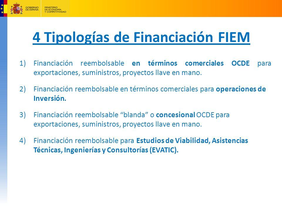 4 Tipologías de Financiación FIEM 1)Financiación reembolsable en términos comerciales OCDE para exportaciones, suministros, proyectos llave en mano.