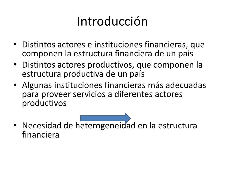Introducción Distintos actores e instituciones financieras, que componen la estructura financiera de un país Distintos actores productivos, que compon