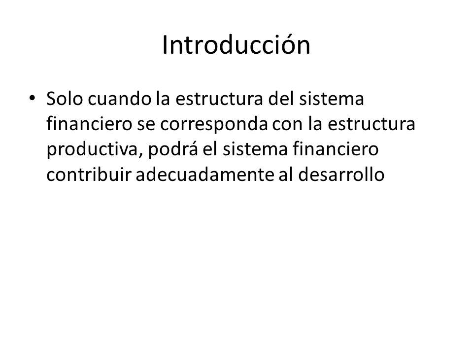 Introducción Solo cuando la estructura del sistema financiero se corresponda con la estructura productiva, podrá el sistema financiero contribuir adec