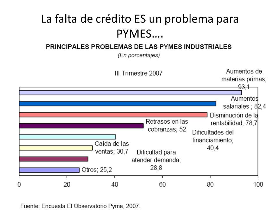 La falta de crédito ES un problema para PYMES….
