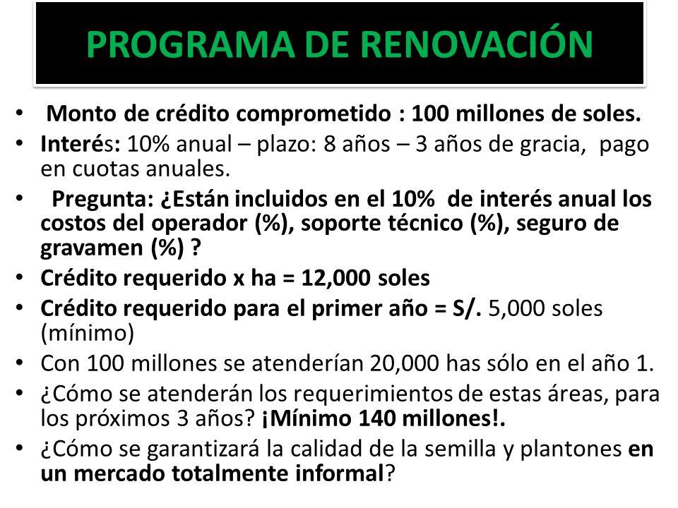 PROGRAMA DE RENOVACIÓN Monto de crédito comprometido : 100 millones de soles. Interés: 10% anual – plazo: 8 años – 3 años de gracia, pago en cuotas an
