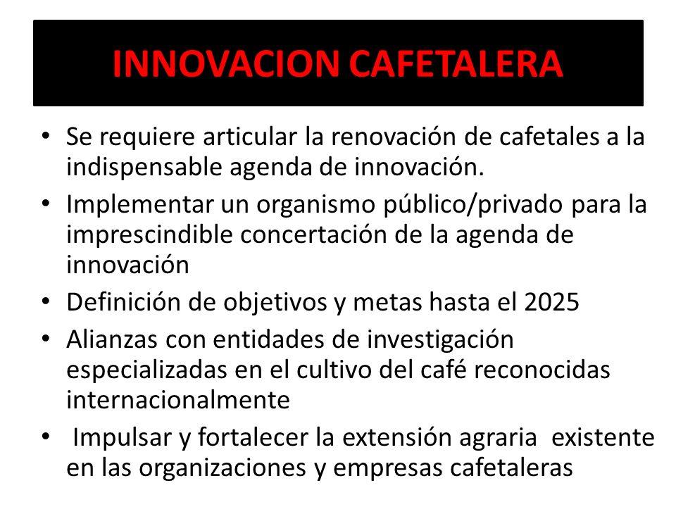 INNOVACION CAFETALERA Se requiere articular la renovación de cafetales a la indispensable agenda de innovación. Implementar un organismo público/priva