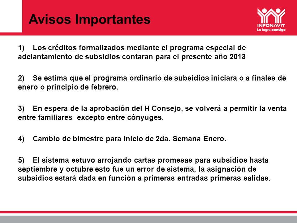 Avisos Importantes 1)Los créditos formalizados mediante el programa especial de adelantamiento de subsidios contaran para el presente año 2013 2)Se es