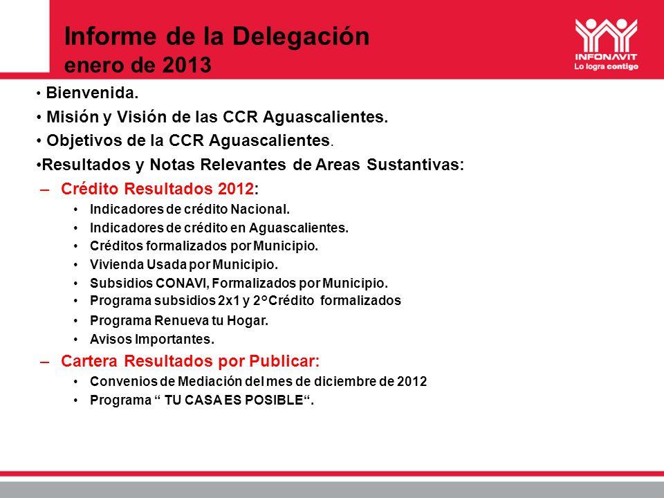 Informe de la Delegación enero de 2013 Bienvenida. Misión y Visión de las CCR Aguascalientes. Objetivos de la CCR Aguascalientes. Resultados y Notas R