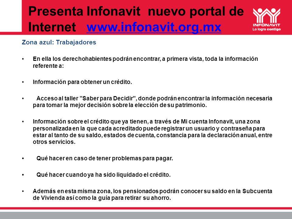 Presenta Infonavit nuevo portal de Internet www.infonavit.org.mxwww.infonavit.org.mx Zona azul: Trabajadores En ella los derechohabientes podrán encon