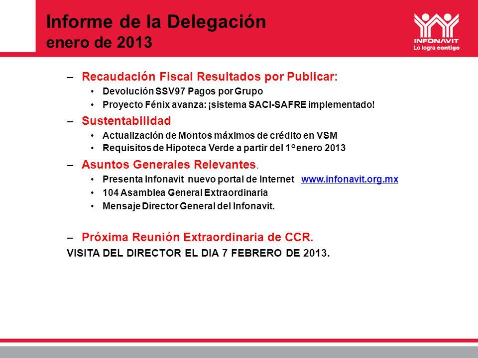 Informe de la Delegación enero de 2013 –Recaudación Fiscal Resultados por Publicar: Devolución SSV97 Pagos por Grupo Proyecto Fénix avanza: ¡sistema S