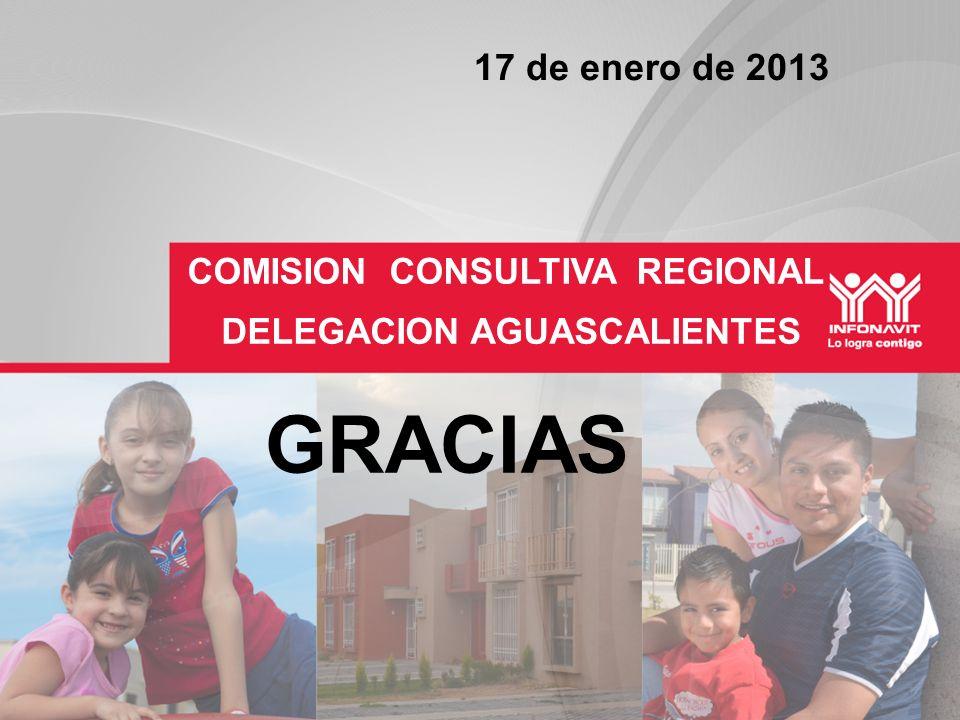 DELEGACION AGUASCALIENTES COMISION CONSULTIVA REGIONAL GRACIAS 17 de enero de 2013