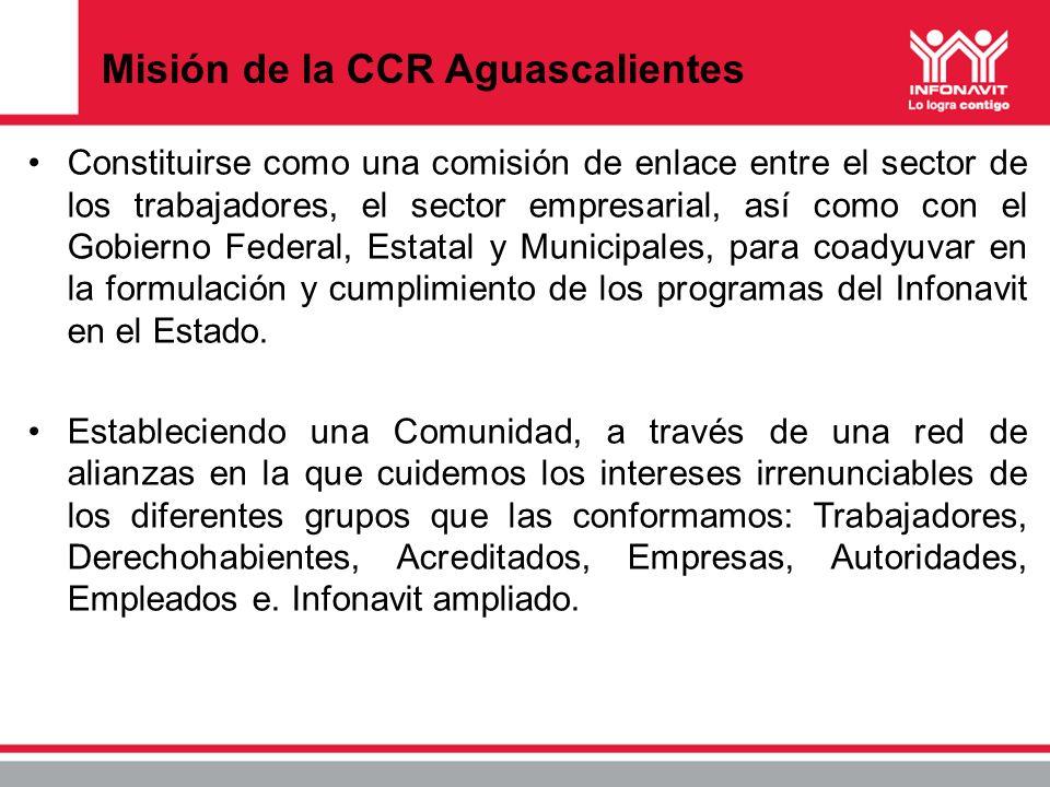 Misión de la CCR Aguascalientes Constituirse como una comisión de enlace entre el sector de los trabajadores, el sector empresarial, así como con el G