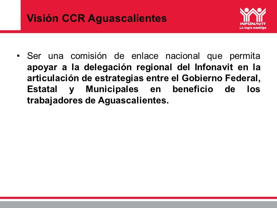 Visión CCR Aguascalientes Ser una comisión de enlace nacional que permita apoyar a la delegación regional del Infonavit en la articulación de estrateg