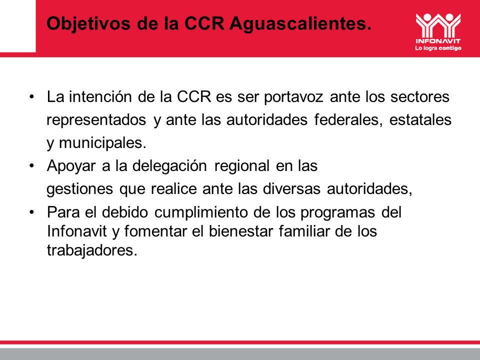 Objetivos de la CCR Aguascalientes. La intención de la CCR es ser portavoz ante los sectores representados y ante las autoridades federales, estatales