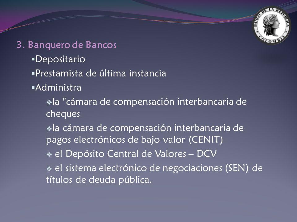 3. Banquero de Bancos Depositario Prestamista de última instancia Administra la