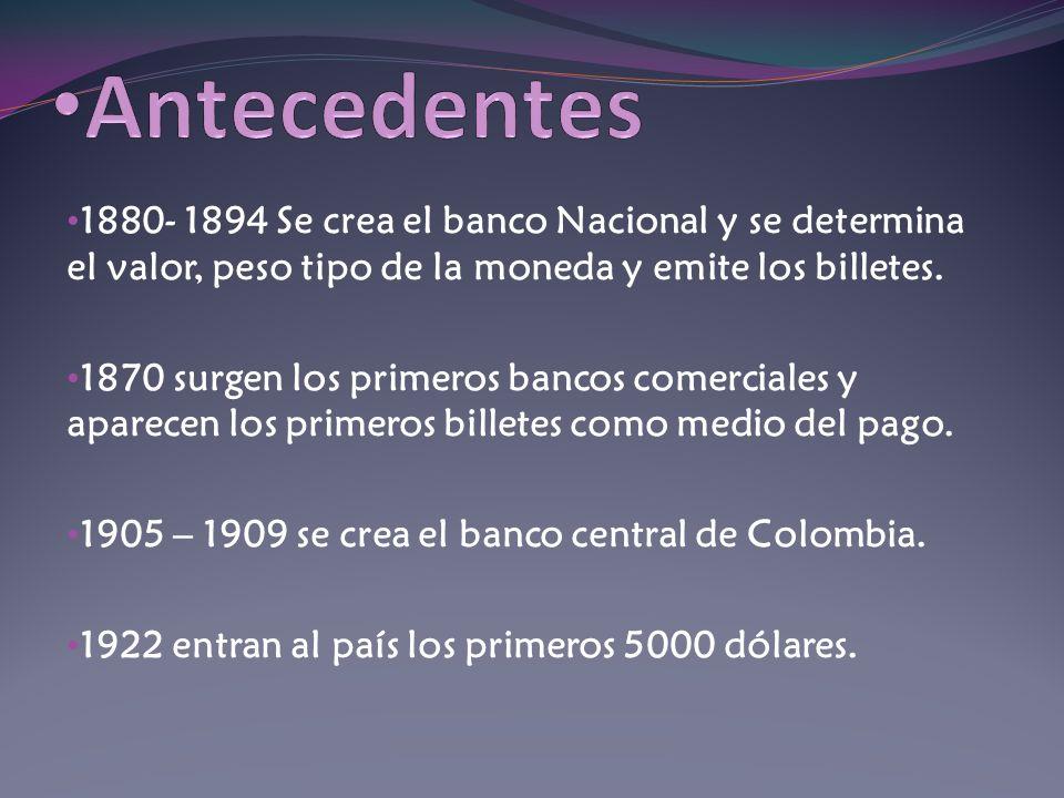 1880- 1894 Se crea el banco Nacional y se determina el valor, peso tipo de la moneda y emite los billetes. 1870 surgen los primeros bancos comerciales