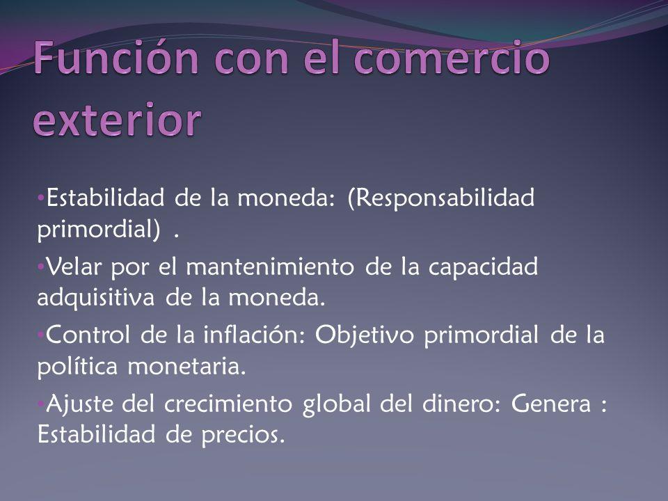 Estabilidad de la moneda: (Responsabilidad primordial). Velar por el mantenimiento de la capacidad adquisitiva de la moneda. Control de la inflación: