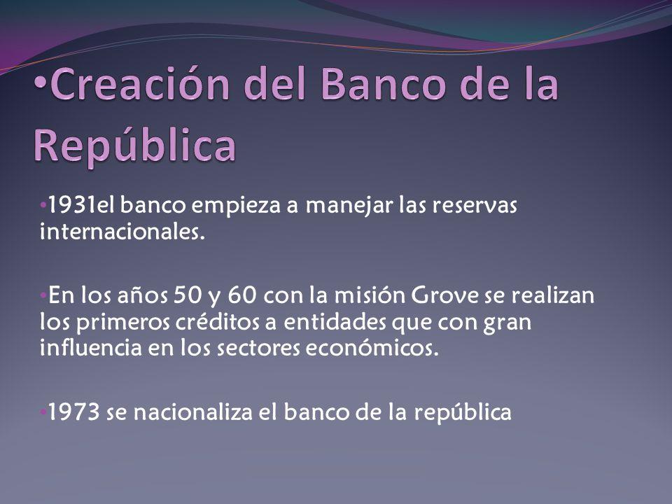 1931el banco empieza a manejar las reservas internacionales. En los años 50 y 60 con la misión Grove se realizan los primeros créditos a entidades que