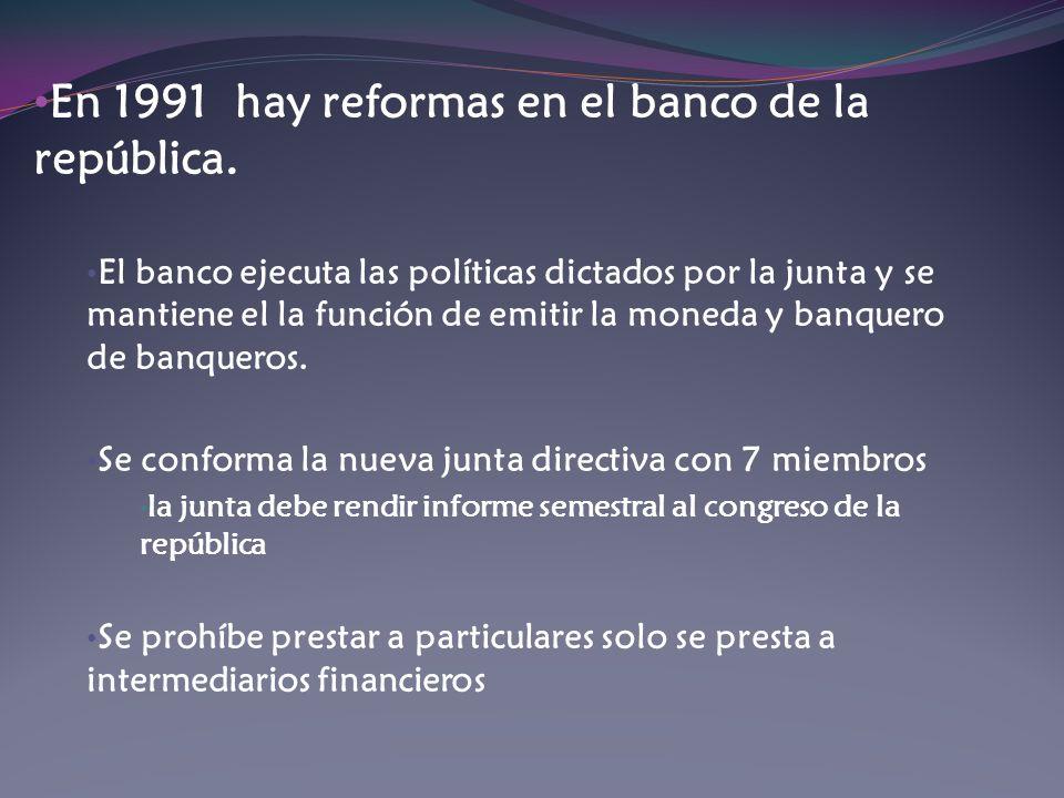 En 1991 hay reformas en el banco de la república. El banco ejecuta las políticas dictados por la junta y se mantiene el la función de emitir la moneda