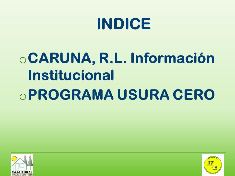 INDICE o CARUNA, R.L. Información Institucional o PROGRAMA USURA CERO