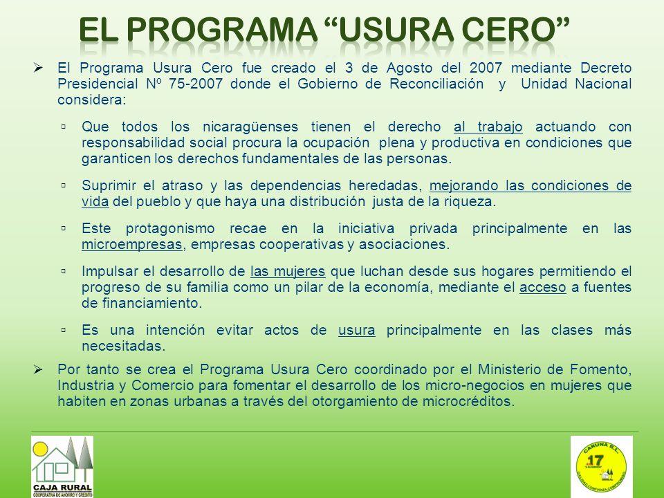 El Programa Usura Cero fue creado el 3 de Agosto del 2007 mediante Decreto Presidencial Nº 75-2007 donde el Gobierno de Reconciliación y Unidad Nacion