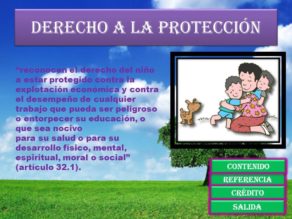 Derecho a la protección reconocen el derecho del niño a estar protegido contra la explotación económica y contra el desempeño de cualquier trabajo que
