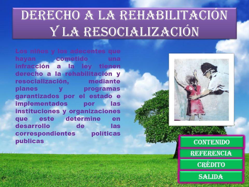 Derecho a la rehabilitación y la resocialización Los niños y los adecentes que hayan cometido una infracción a la ley tienen derecho a la rehabilitaci
