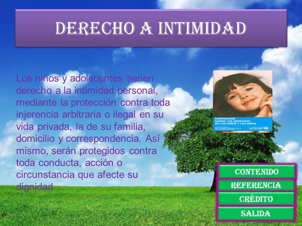 Derecho a intimidad Los niños y adolecentes tienen derecho a la intimidad personal, mediante la protección contra toda injerencia arbitraria o ilegal