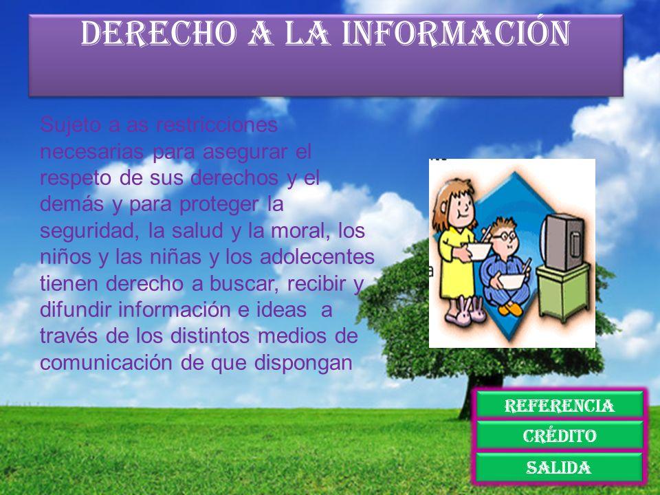 Derecho a la información Sujeto a as restricciones necesarias para asegurar el respeto de sus derechos y el demás y para proteger la seguridad, la sal