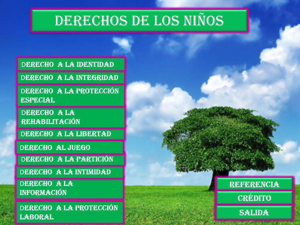 Derechos de los niños D erecho a la protección laboral D erecho a la información D erecho a la intimidad D erecho a la partición D erecho a la liberta