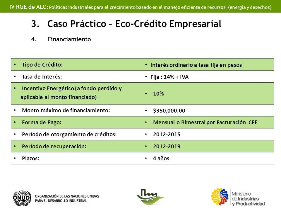 IV RGE de ALC: Políticas industriales para el crecimiento basado en el manejo eficiente de recursos (energía y desechos) 3.Caso Práctico – Eco-Crédito