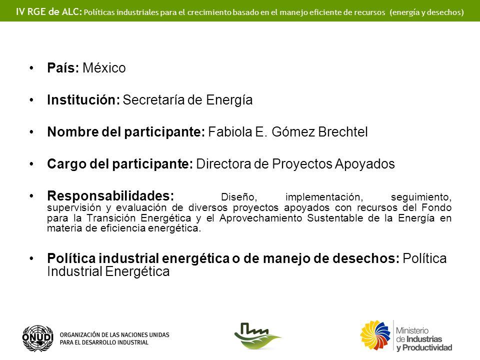 IV RGE de ALC: Políticas industriales para el crecimiento basado en el manejo eficiente de recursos (energía y desechos) País: México Institución: Sec