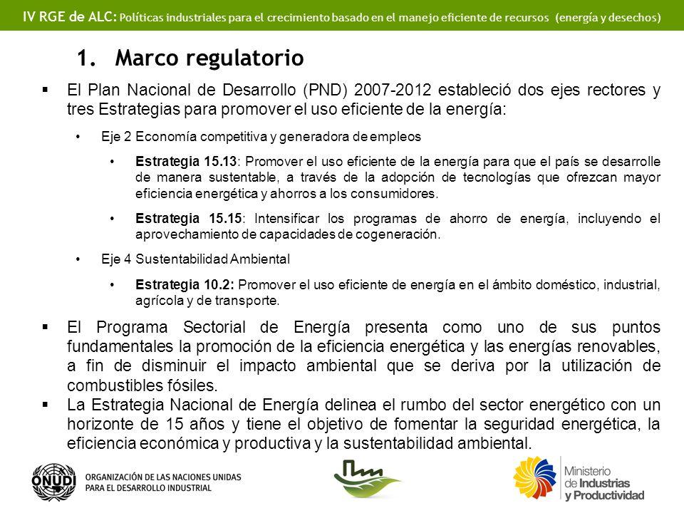IV RGE de ALC: Políticas industriales para el crecimiento basado en el manejo eficiente de recursos (energía y desechos) 1.Marco regulatorio El Plan Nacional de Desarrollo (PND) 2007-2012 estableció dos ejes rectores y tres Estrategias para promover el uso eficiente de la energía: Eje 2 Economía competitiva y generadora de empleos Estrategia 15.13: Promover el uso eficiente de la energía para que el país se desarrolle de manera sustentable, a través de la adopción de tecnologías que ofrezcan mayor eficiencia energética y ahorros a los consumidores.