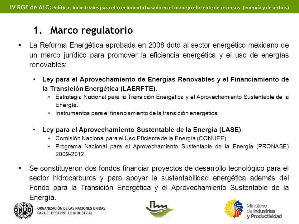 IV RGE de ALC: Políticas industriales para el crecimiento basado en el manejo eficiente de recursos (energía y desechos) 1.Marco regulatorio La Reform