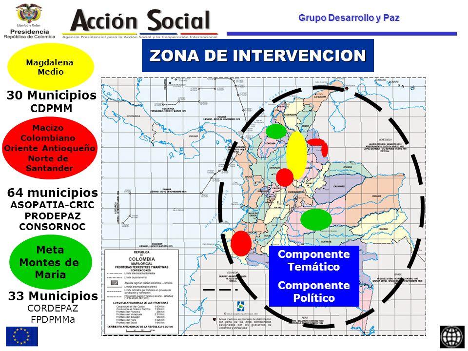 Grupo Desarrollo y Paz Magdalena Medio 30 Municipios CDPMM 64 municipios ASOPATIA-CRIC PRODEPAZ CONSORNOC 33 Municipios CORDEPAZ FPDPMMa Componente Temático Componente Político ZONA DE INTERVENCION Macizo Colombiano Oriente Antioqueño Norte de Santander Meta Montes de Maria