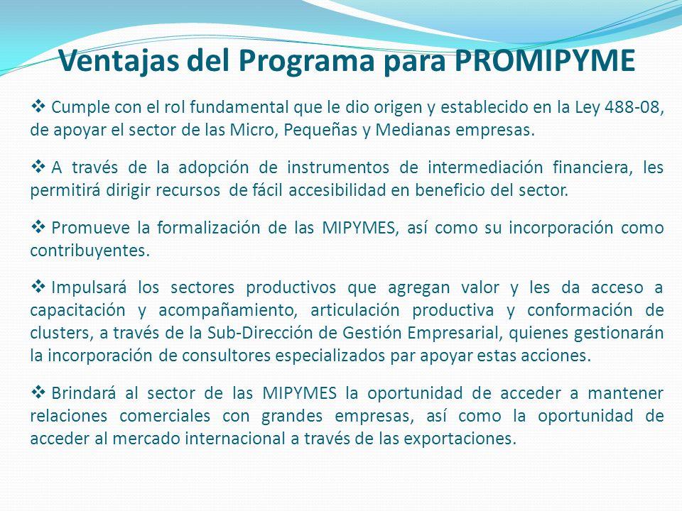 Ventajas del Programa para PROMIPYME Cumple con el rol fundamental que le dio origen y establecido en la Ley 488-08, de apoyar el sector de las Micro,