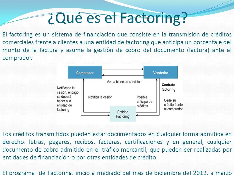 ¿Qué es el Factoring? El factoring es un sistema de financiación que consiste en la transmisión de créditos comerciales frente a clientes a una entida