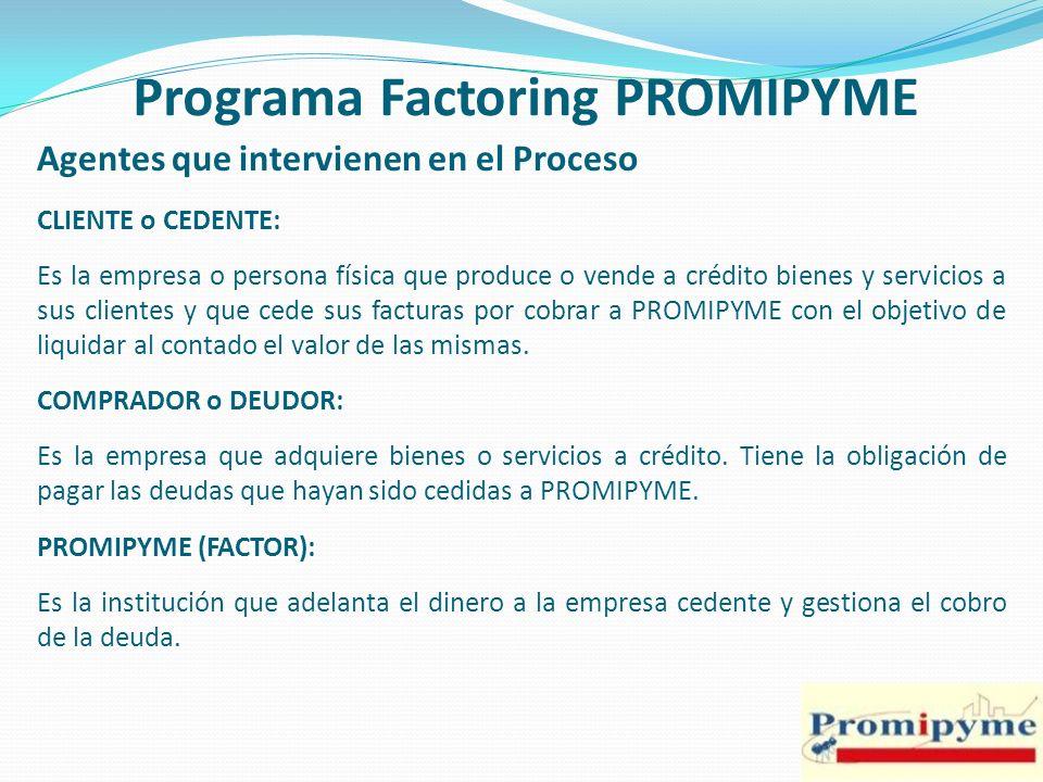 Programa Factoring PROMIPYME Agentes que intervienen en el Proceso CLIENTE o CEDENTE: Es la empresa o persona física que produce o vende a crédito bie