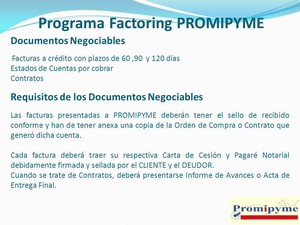 Programa Factoring PROMIPYME Acciones previas al inicio del Programa Incentivar el registro de las empresas para fines de homologación de las mismas, así como del listado de deudores.