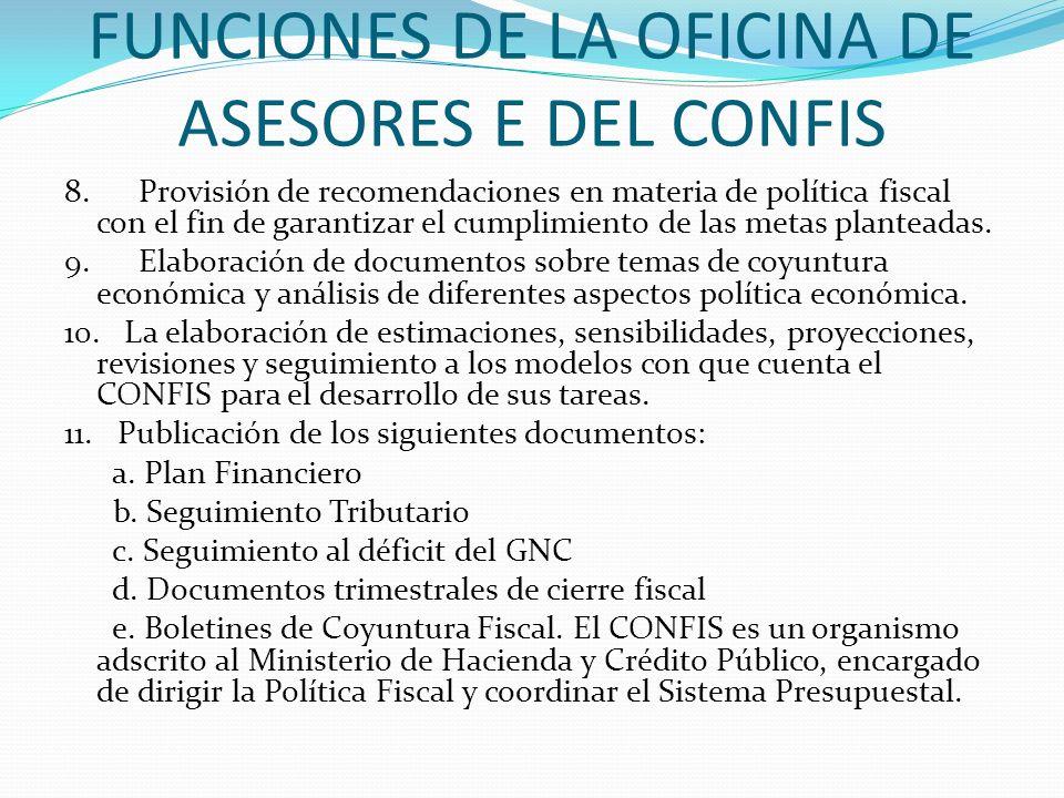 FUNCIONES DE LA OFICINA DE ASESORES E DEL CONFIS 8. Provisión de recomendaciones en materia de política fiscal con el fin de garantizar el cumplimient