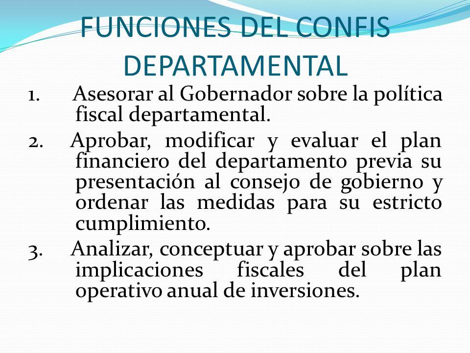 FUNCIONES DEL CONFIS DEPARTAMENTAL 1. Asesorar al Gobernador sobre la política fiscal departamental. 2. Aprobar, modificar y evaluar el plan financier