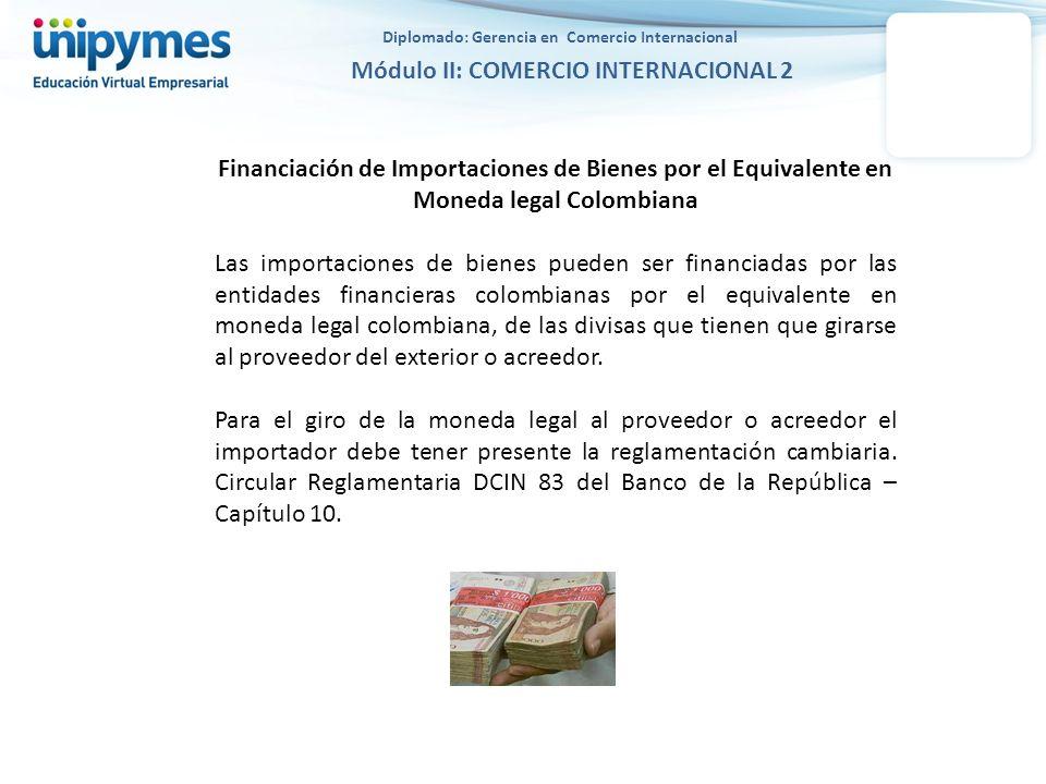 Diplomado: Gerencia en Comercio Internacional Módulo II: COMERCIO INTERNACIONAL 2 Financiación de Importaciones de Bienes por el Equivalente en Moneda