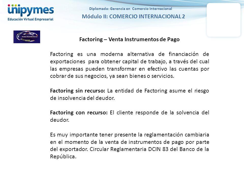 Diplomado: Gerencia en Comercio Internacional Módulo II: COMERCIO INTERNACIONAL 2 Factoring – Venta Instrumentos de Pago Factoring es una moderna alte