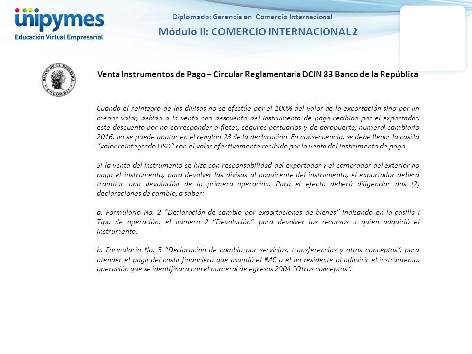 Diplomado: Gerencia en Comercio Internacional Módulo II: COMERCIO INTERNACIONAL 2 Venta Instrumentos de Pago – Circular Reglamentaria DCIN 83 Banco de