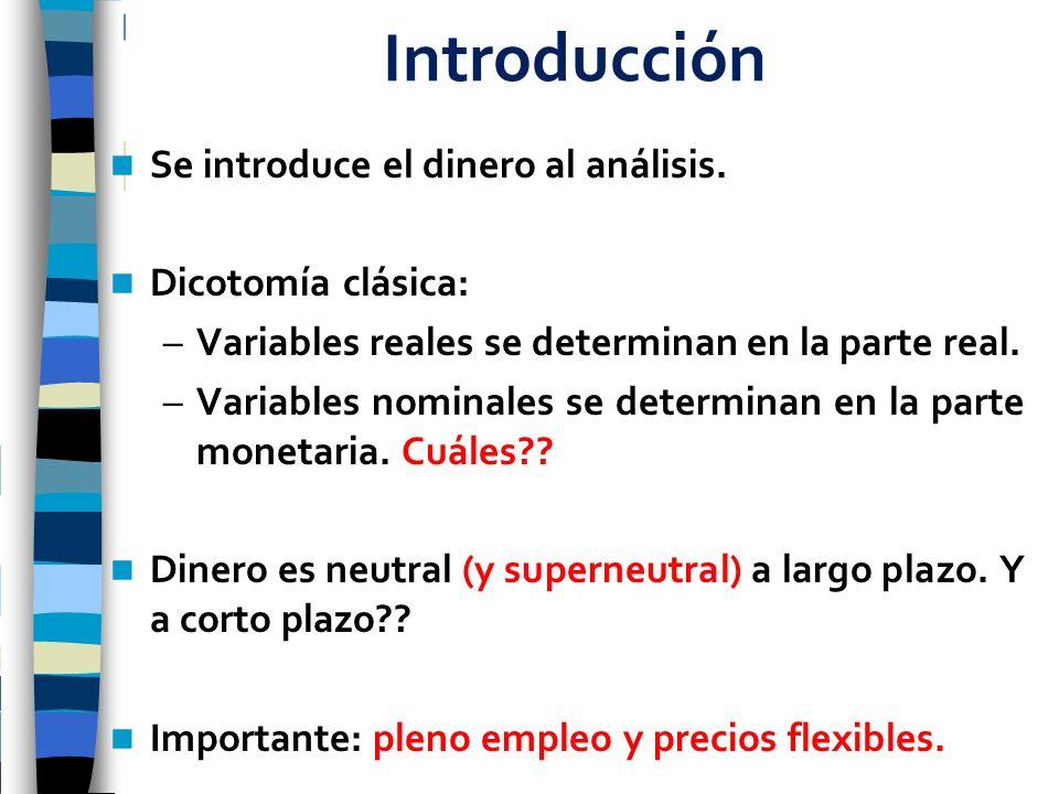 Introducción Se introduce el dinero al análisis. Dicotomía clásica: –Variables reales se determinan en la parte real. –Variables nominales se determin